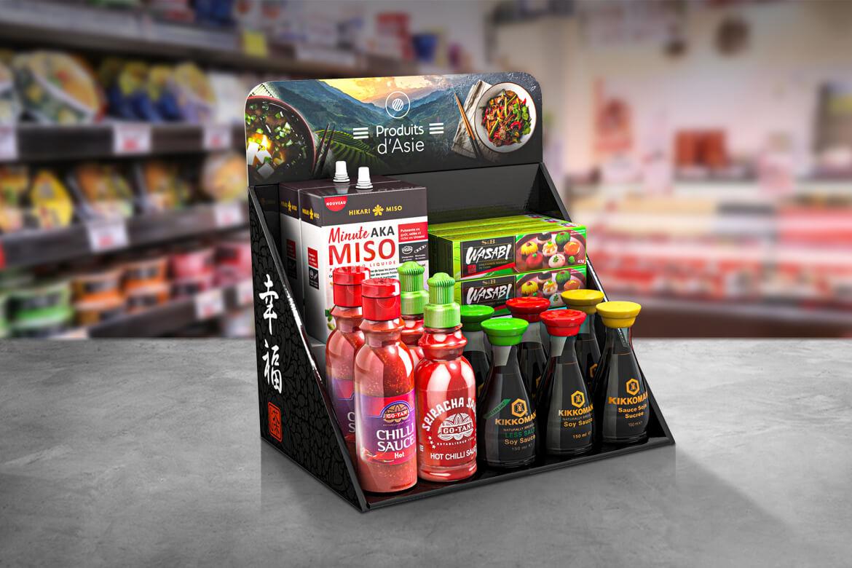 Présentoir multi produit pour comptoir de magasin